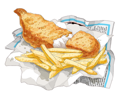 Fish + chips by aster-lili