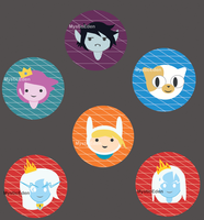 Adventure Time Genderbend Buttons by MysticEden