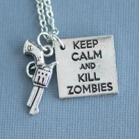 Keep calm and kill zombies - Necklace by MonsterBrandCrafts