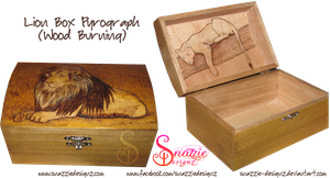 Lion/Lioness Pyrograph (Wood Burning) Box by snazzie-designz