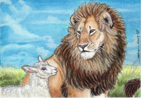 Lion and Lamb ACEO by ebonytigress