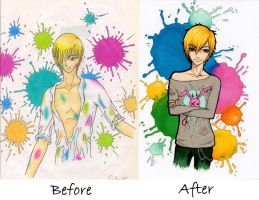 Colours before and after - re-drawing by TsukiokaShinji