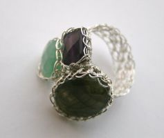 Three Stone Viking Knit Ring by WrappedbyDesign