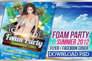 Foam Party Summer Flyer + Facebook Cover Timeline by LouisTwelve-Design