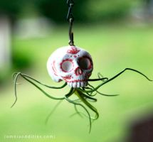 Ceramic hanging sugarskull air plant terrarium by kerinewton
