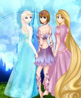 Elsa, Lily, and Rapunzel by kagerou22