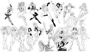 Marvel Women inked poster by zpro1