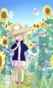 Bubbles+sunflower by temiji