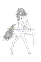 Horse Lineart: Powerful gallop by Whiteligtning