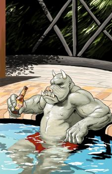 A Gamorrean relaxes at his hotel by NMRosario