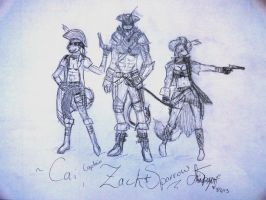 Captain Zack, Sparrow, and Cai (Sketch) by YourNinthLife