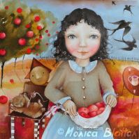 Pinafore Full Of Apples by Monica-Blatton