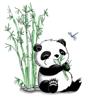 Panda Eating Bamboo by artshell
