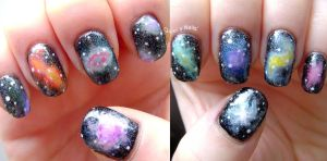 Galaxy Nail Art by quixii