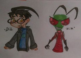 Zim and Dib drawing by Kittychan2005