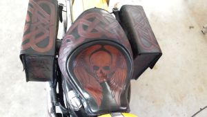 Winged Skull Leather Seat and Bags by michaelao