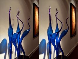 Pretty Blue Flame-ingos by Dave Chihuli by aegiandyad