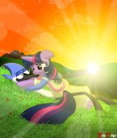 Commission: Twilight and Mordecai - Sunset Scene by BroDogz