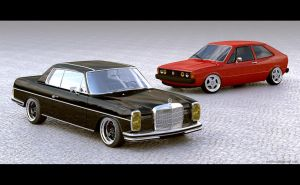 Mercedes 280C and Scirocco Mk1 by sergoc58