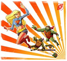Supergirl meets the turtles by skinygalaxier