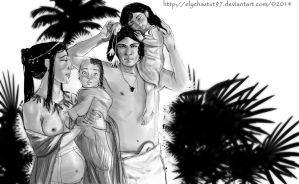 Ancient Egyptian family by ElychazTut97