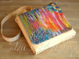 Impressionist Leather Shoulder Bag by izasartshop