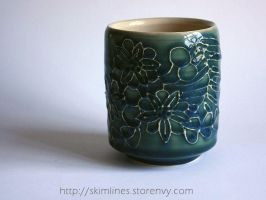 Triple Flower Bira Kanzashi tea cup by skimlines