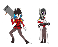 MLP:FiM and TF2 - Vinyl Soldier and Octavia Medic by SigmatheArtist