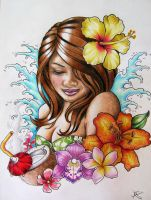 Hawaiian Hula Girl Tattoo Design by Frosttattoo