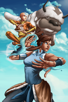 Avatars - Aang and Korra by GenghisKwan