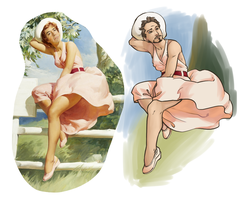 RDJ Pin-Up style. by XoverLover