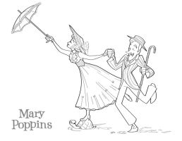 Mary Poppins coloring page by BetterthanBunnies