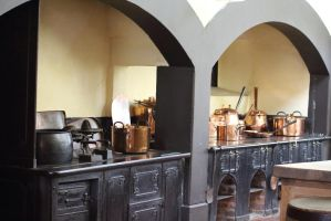 Old Cast Iron Cooking Range and Copper Pans by Vincent-Malcolm
