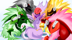 Ophiuca and her harem of Omega-Xis Copies by Riadorana