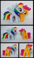 Rainbow Dash and Scootaloo Plushies by Rainbow-Kite