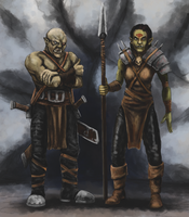 Orc Mercenary and Blood Witch by Crowsrock