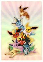 Eeveelution pileup by KaceyMeg