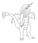Unicorn Dragon Lineart by MikariStar