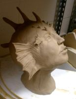 Lionfish woman bust side WIP by Fire-Redhead