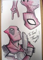 Spidey and Deadpool sketch by piotrov