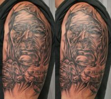 TaT Hooded Man destroy by 2Face-Tattoo