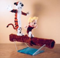 Pipe Cleaner Calvin and Hobbes by fuzzymutt