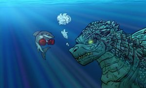 Shark Boxer VS Godzilla by Micgrol