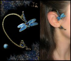 Ear cuff and stud Dragonfly by JSjewelry
