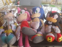 Shadow,sonic,silver,and Amy Plushes by silverthehedgeho155