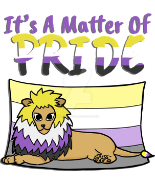Nonbinary Pride Lion- With Text by marzipan-pond