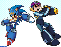 Sonic Man and M'egga Man by WaniRamirez