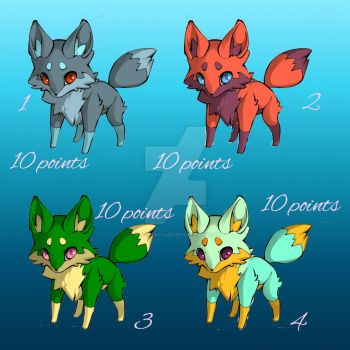 Adoptable foxes by katcraft455