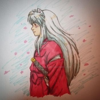 Colored doodle: Inuyasha (more promarker testing) by Aaronchu29