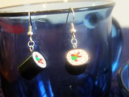 Sushi Roll Earrings by Lassarina-Jewelry